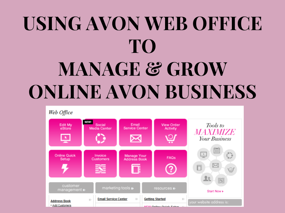 USING AVON WEB OFFICE TO MANAGE YOUR ONLINE BUSINESS